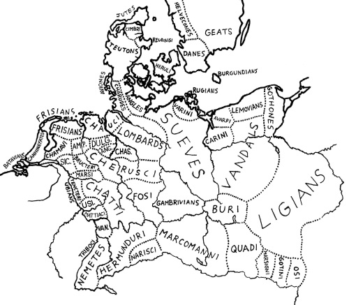 Figure 2 - Germanic Tribes Map 15 BC