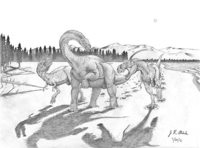Tyrannosaurus pair attacking Alamosaurus